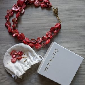 Guy & Eva Coral She'll Necklace Earring Set